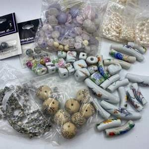 Lot #  52 - Porcelain, glass and stone beads