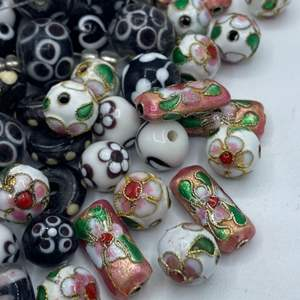 Lot #  55 - Glass and cloisonné beads