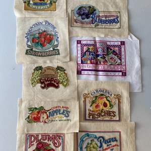 Lot #  90 - 9 Needlepoint fruit crate labels