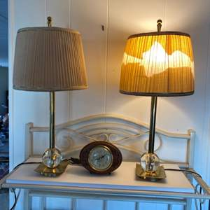 Lot #  100 - Mid-century modern lamps and clock