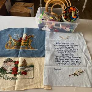 Lot # 107 - Three completed needle points plus supplies
