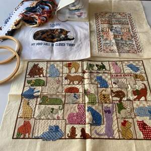 Lot # 108 - Finished and unfinished needle points plus supplies
