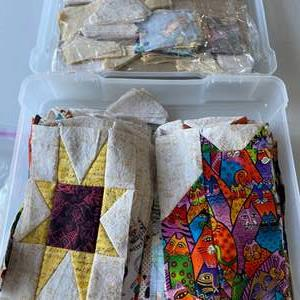 Lot # 113 - Box of handsewn cat quilt squares ready to be assembled