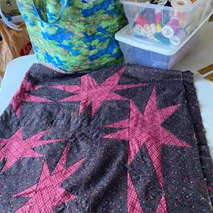 Lot # 114 - Handsewn quilt front with supplies