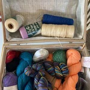 Lot # 115 - Knitting basket with a selection of varied yarn: Marino Wool, Mohair, Cotton, Bamboo, Actylic