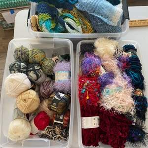 Lot # 117 - Three totes of varied yarn: Wool, Cotton, Acrylic