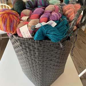 Lot # 118 - XL Basket with a selection of varied yarn: Marino Wool, Mohair, Cotton, Bamboo, Acrylic