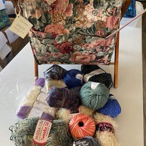 Lot # 119 - Knitting basket with a selection of varied yarn: Wool, Cotton, Bamboo, Acrylic
