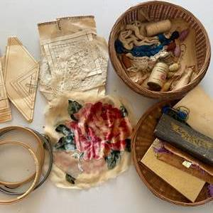 Lot # 120 - Vintage and antique sewing, needlepoint notions & vintage brass tray