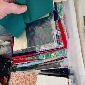 Lot # 137 - Tub full of quilted squares ready to be put together