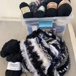 Lot # 144 - Selection of varied yarns and handmade sweater