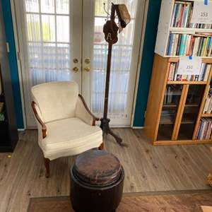 Lot # 154 - Chair, ottoman and hat rack