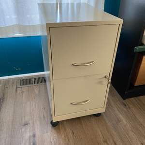 Lot # 155 - Two drawer locking file cabinet with writer's teaching help files