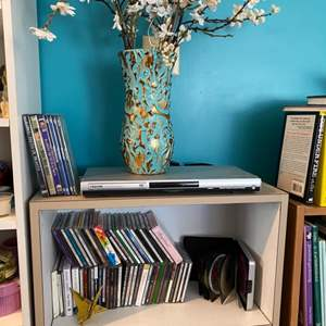 Lot # 175 - CDs, DVD movies, DVD player & vase