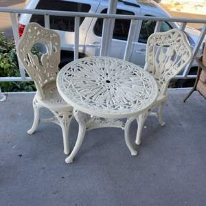 Lot # 188 - Bistro table and chairs (Heavy plastic outdoor furniture)