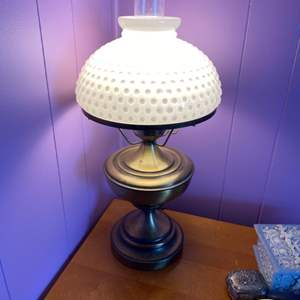 Lot # 200 - Gone with the wind style, milk glass and brass hurricane lamp