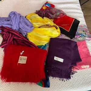 Lot # 208 - Scarfs; wool, acrylic and pashminas