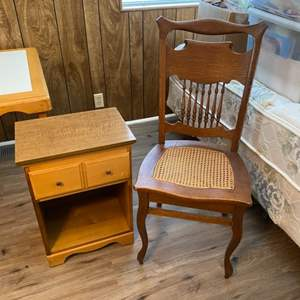 Lot # 221 - Nightstand and chair
