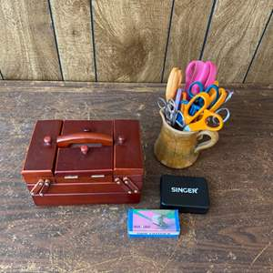 Lot # 223 - Assorted scissors, Singer sewing box and travel kit with side cutter II