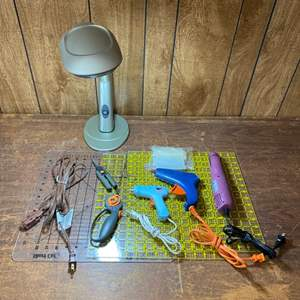 Lot # 224 - Crafting supplies and table top work lamp