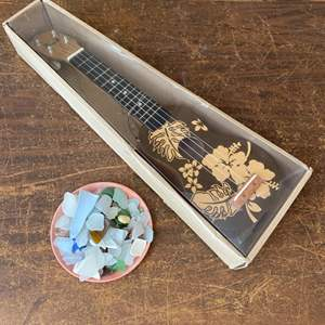 Lot # 225 - Hawaiian ukulele (new in box) and beach glass