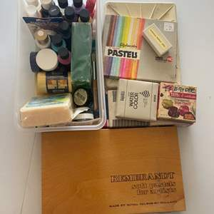 Lot # 228 - Art supplies, pastels, charcoals, watercolors and more