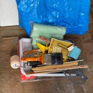 Lot # 241 - Painting goods, tarp and countertop