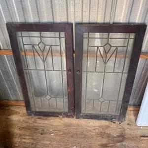 Lot # 242 - 4 Antique ornate glass cabinet doors