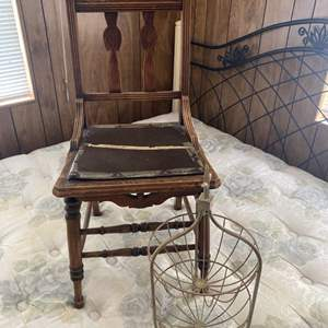 Lot # 244 - Antique chair and two tiered metal basket
