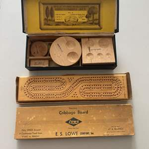 Lot # 248 - Cribbage board game and metalography homeworkers set