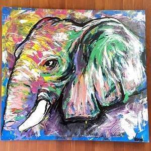 Lot # 1 - Large Original Elephant Painting by Varen