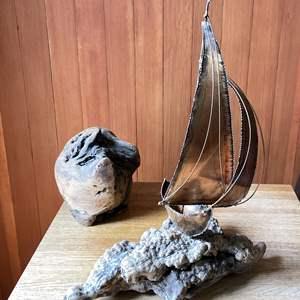 Lot # 3 - Copper Sailboat Sculpture and Burl