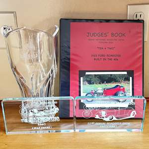 Lot # 15 - SLO Car Show Best in Show Trophy, Judges Book and More