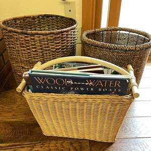Lot # 18 - Wicker Magazine Holder and (2) Baskets