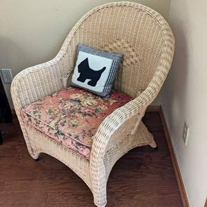 Lot # 45 - Wicker Armchair and Cushions