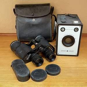 Lot # 26 - Vintage Shur Shot Camera and Binoculars
