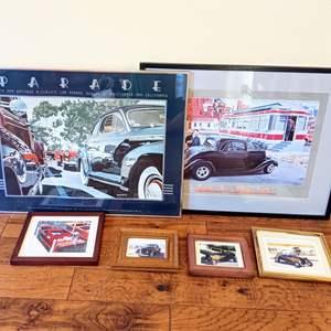 Lot # 57 - Assorted Vintage Framed Automotive Art