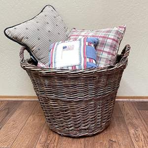 Lot # 62 - Huge Wicker Basket and Assortment of Pillows