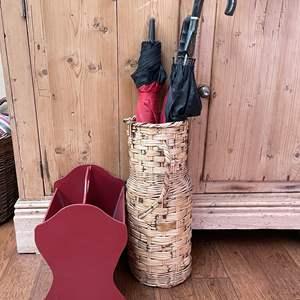 Lot # 65 - Wicker Umbrella Holder and Wooden Magazine Rack