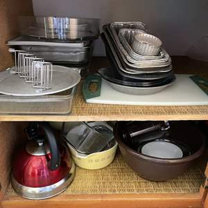 Lot # 75 - Large Assortment of Bakeware, Tea Kettle and Vintage Pyrex