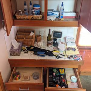 Lot # 88 - Kitchen/Office Items (2 Shelves, Counter and 2 Drawers)