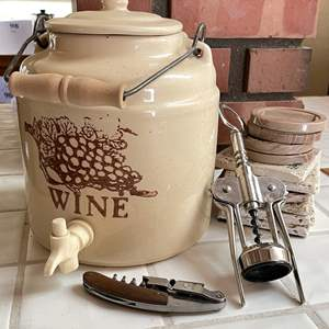 Lot # 100 - Ceramic Lidded Wine (or Water) Crock, Corkscrews and Coasters