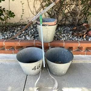 Lot # 108 - (2) Hanging Buckets, Grabber, Hose Sprinkler