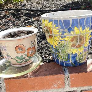 Lot # 111 - Mosaic Sunflower and Floral Pots