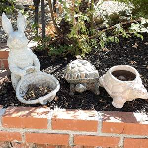 Lot # 114 - (4) Animal Planters and Garden Art (Stone, Terracotta and More)