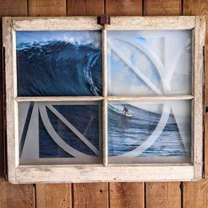 Lot # 154 - Surf Art in Awesome Wood Window Frame