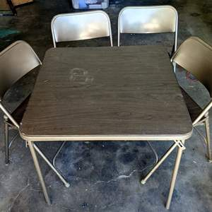 Lot # 159 - Card Table and 4 Folding Chairs