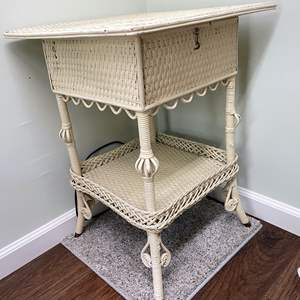 Lot # 126 - Shabby Chic Wicker Side Table with Coasters