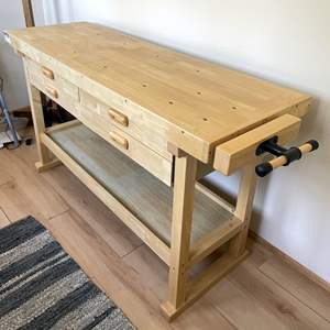 Lot # 133 - Woodworking Table and Vise