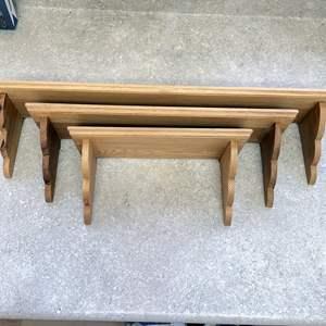 Lot # 142 - (3) Hanging Wooden Shelves